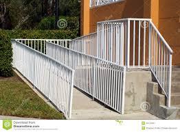 Handicap Handrail Handicap Ramp With White Railing Stock Photo Image 49747847
