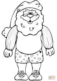 sant claus in his underwear slippers and hat coloring page free