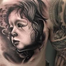 child portrait on chest