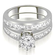 set of gold 2 05 cttw 14k white gold channel set princess cut diamond bridal