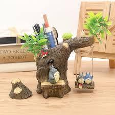 Office Desk Decoration 1piece Cute Kawaii Creative Resin Cartoon Cat Pen Holder Office