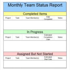 team progress report template monthly team status report template with table layout helloalive