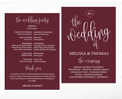 template for wedding program diy fall burgundy marsala wedding program printable template