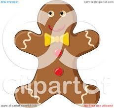 royalty free rf clipart illustration of a happy gingerbread man