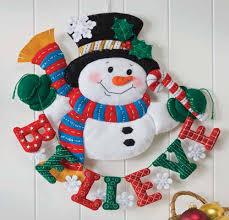 felt tree skirt kits applique bucilla snowman believe wall