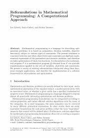 reformulations in mathematical programming a computational