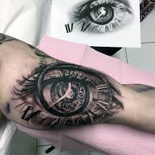 3d eye clock roman numeral mens bicep tattoo designs tattos