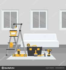 home interior vector renovation room home interior renovation flat style vector