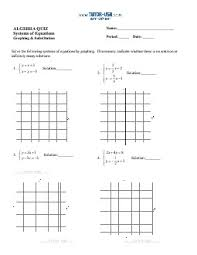 worksheet systems of equations solve using graphing and