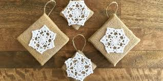 diy burlap and doily ornaments craft tutorial