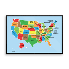 Map Poster High Quality Us Map With States Wall Art Print The Pixel Prince