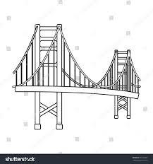 golden gate bridge icon outline style stock illustration 571732057