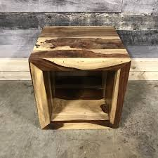 wood cube end table end and accent tables rustic furniture outlet