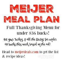meijer meal planning thanksgiving menu 36 bucks