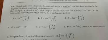 1 6 sketch unit circle diagrams showing each angl chegg com