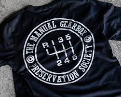 the official manual gearbox preservation society insignia t shirt