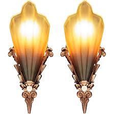 1930s Chandelier by American Art Deco U0027soleure U0027 Brown Tip Honey Glass Slip Shade