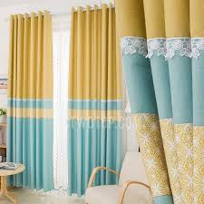 Yellow Patterned Curtains Blue And Yellow Patterned Print Linen Cotton Blend Color Block