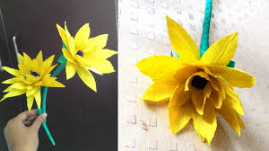 Make Flower With Paper - how to make sunflower with paper diy crepe paper flower youtube
