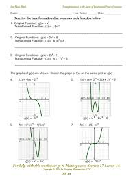 math function worksheets pf 14 graphs transformations to power polynomial function input