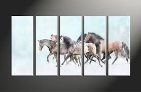 5 piece animal wildlife horse blue multi panel art