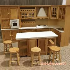 Dollhouse Furniture Kitchen Dollhouse Miniature Burlywood Integrated Kitchen Furniture Set 1