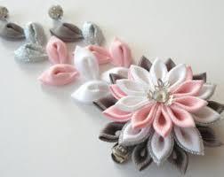 kanzashi hair pin kanzashi fabric flower hair clip with falls pink kanzashi hair