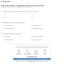 quiz u0026 worksheet legislative branch of government study com