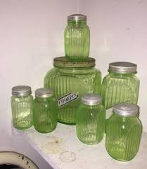 vintage glass canisters kitchen vintage vaseline green depression glass cookie coffee sugar jar