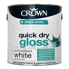 crown quick dry gloss paint pure brilliant white 2 5l at wilko com