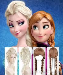 classic cartoon frozen anna elsa wig queen wigs long braid