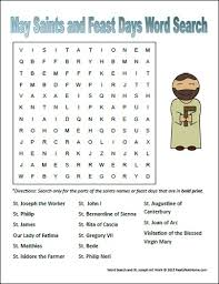 may saints and feast days word search for catholic