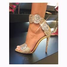 luxury bling bling glitter embellished high heel sandal summer