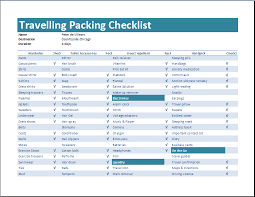 free template for packing list