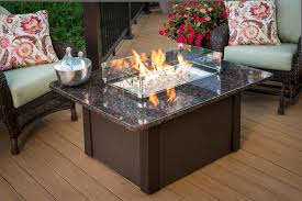 outdoor fire pit table with rectangle patio and wooden deck