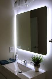 Backlit Mirrors Bathroom Unique Backlit Led Vertical Bathroom Mirror With Light On All