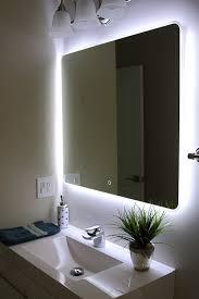 Bathroom Mirror Photos Unique Backlit Led Vertical Bathroom Mirror With Light On All