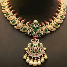 emerald gold necklace jewelry images Pretty design emerald gold necklace peacock from anagha jewellery jpg