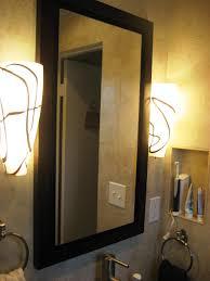 Bathroom Medicine Cabinet With Mirror And Lights Black Wooden Medicine Cabinets With Rectangular Mirror Door