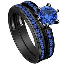 2017 size 5 11 black blue sapphire wedding engagement ring crystal