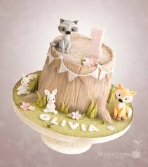 woodland animal tree stump cake cake by little cherry