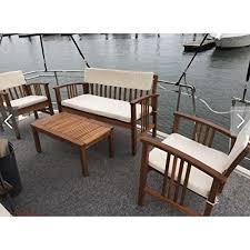 durable four piece wood deep seating patio furniture set indoor