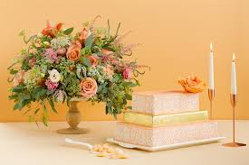 Peach Flowers Spring Wedding Inspo Cakes U0026 Flowers In Every Shade Of The