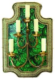 Gold Wall Sconce Candle Holder Art Deco Emerald Green Wall Sconce Retro Dark Gold Candle Holder
