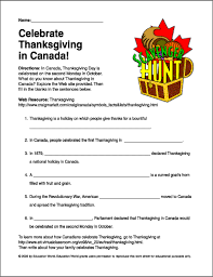 scavenger hunt thanksgiving in canada worksheet education world