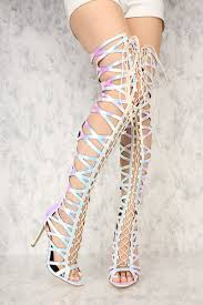 s high boots pink hologram front lace up gladiator thigh high boots faux leather