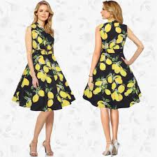 women u0027s lapel v neck sleeveless tie waist lemon print button
