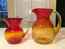 Decorative Pitchers Carafe Pitcher Yellow Blenko Art Glass Ebay