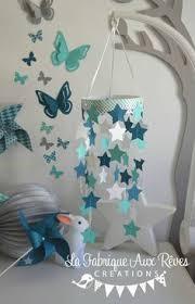 chambre bébé gris et turquoise mobile nuage turquoise lagon gris étoiles gouttes de pluie