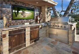Outdoor Tv Cabinets For Flat Screens by Amazing Outdoor Kitchen Ideas Stone Tiles Wood Doors And Flat